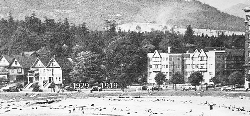 1929 Beach Avenue and 1919 Beach Avenue, detail from English Bay Beach, Beautiful Vancouver, Souvenir Album, Vancouver Sun, 1948, page 61.