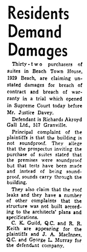 "Vancouver Province, April 22, 1953, page 30, column 8. (Note: the newspaper article refers to the building's address as ""1929 Beach,"" not its correct address of ""1949 Beach."")"
