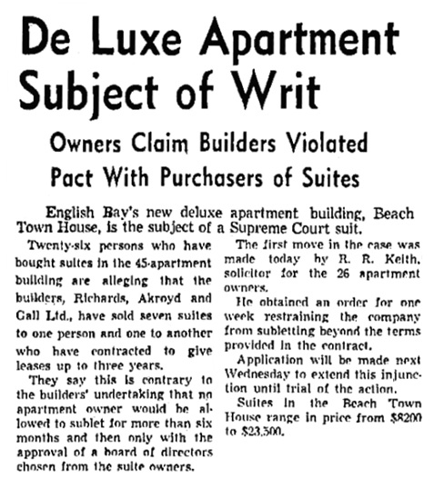 Vancouver Sun, October 17, 1951, page 11, columns 1-2.