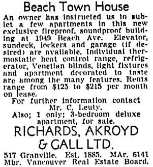 Vancouver Sun, September 15, 1950, page 45, column 2.