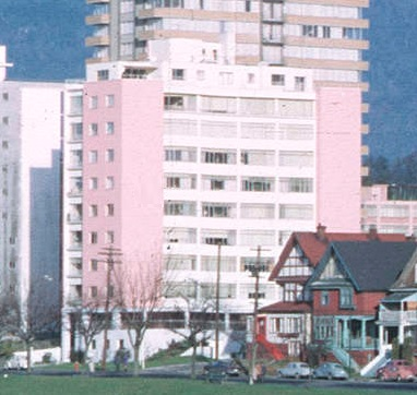 2001 Beach Avenue, January 1, 1967; detail from English Bay; Vancouver City Archives, 2010-006.005; https://searcharchives.vancouver.ca/english-bay-12.