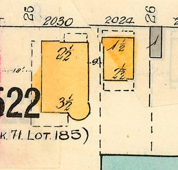 2030 Beach Avenue and 2024 Beach Avenue, 1913, detail from Denman Street to Comox Street to Stanley Park boundary to English Bay Reference code: 1972-582.38 – Plate 63; https://searcharchives.vancouver.ca/plate-63-denman-street-to-comox-street-to-stanley-park-boundary-to-english-bay.