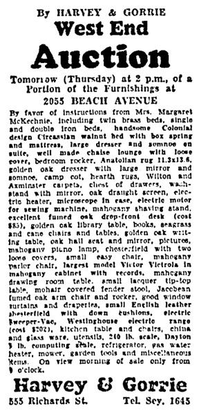 Vancouver Sun, November 5, 1930, page 27, column 1.