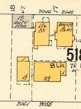 2061 Beach Avenue and 2055 Beach Avenue, detail from Goad's Atlas of Vancouver, volume 1; Plate 63; Denman Street to Comox Street to Stanley Park boundary to English Bay]; Vancouver City Archives, 1972-582.38; https://searcharchives.vancouver.ca/plate-63-denman-street-to-comox-street-to-stanley-park-boundary-to-english-bay.