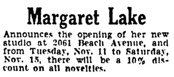 Vancouver Province, November 9, 1930, page 34, column 4.