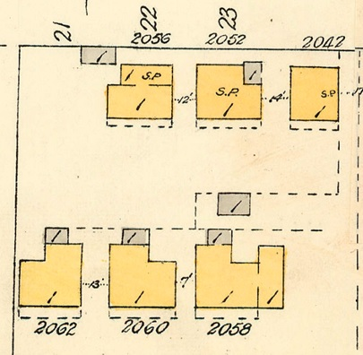 2062 Beach Avenue, 2060 Beach Avenue, 2058 Beach Avenue, 2056 Beach Avenue, 2052 Beach Avenue, and 2042 Beach Avenue; detail from Goad's Atlas of Vancouver, volume 1; Plate 63; Denman Street to Comox Street to Stanley Park boundary to English Bay]; Vancouver City Archives, 1972-582.38; https://searcharchives.vancouver.ca/plate-63-denman-street-to-haro-street-to-chilco-street-to-comox-street.