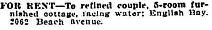 Vancouver Daily World, April 21, 1911, page 22, column 5.