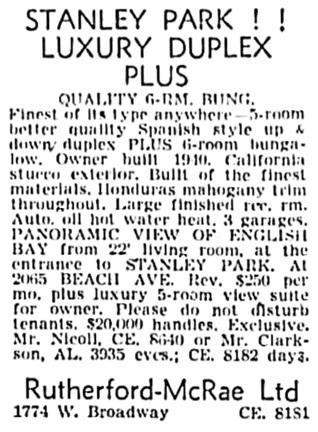 Vancouver Sun, November 2, 1955, page 47, column 6.