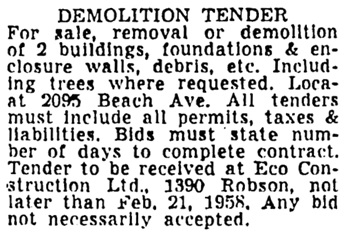 Vancouver Sun, February 14, 1958, page 38, column 4.