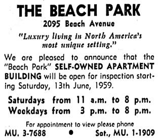Vancouver Sun, June 12, 1959, page 15, columns 1-2.