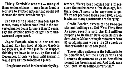 """30 Tenants Hope for Reprieve from Eviction,"" Vancouver Province, September 2, 1977, page 27, columns 1-4. [first portion of article]."