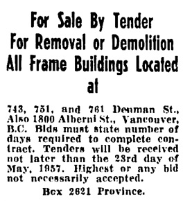Vancouver Province, May 14, 1957, page 37, column 3.