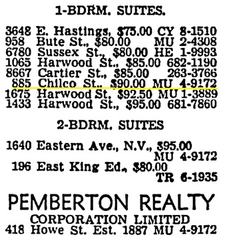 Vancouver Sun, September 7, 1963, page 36, column 6 [portion of advertisement].