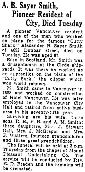 Vancouver Province, November 27, 1935, page 2, column 2.