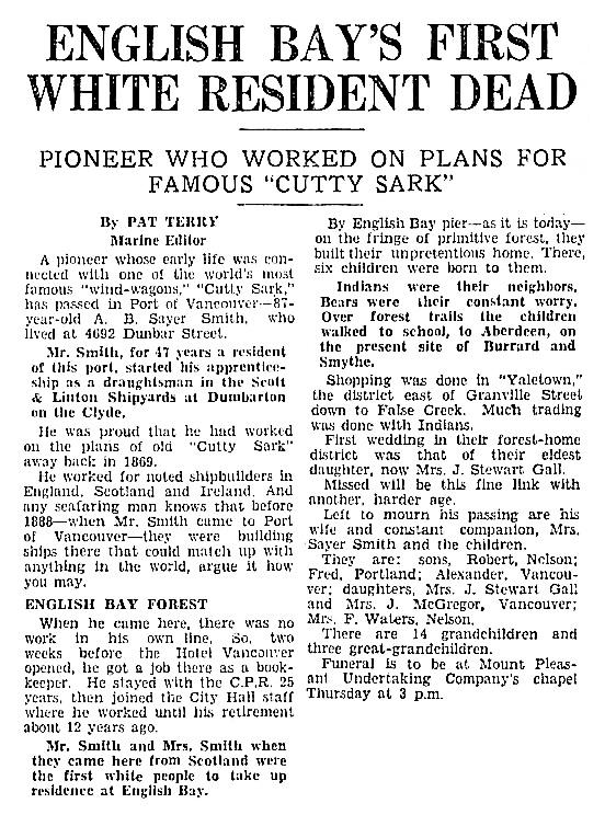 Vancouver Sun, November 27, 1935, page 17, columns 7-8.