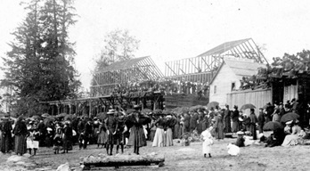 Bath house under construction; detail from English Bay Beach, about 1900 [actually about 1898]; Vancouver City Archives, Be P9; https://searcharchives.vancouver.ca/english-bay-beach-5.