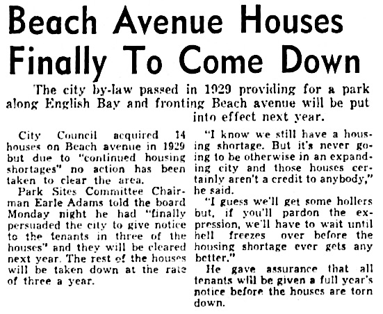 Vancouver Province, May 1, 1951, page 2, columns 3-4.
