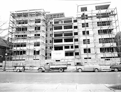 Beach Town House apartment building under construction, April 2, 1950; Vancouver Public Library, VPL Accession Number 81222; https://www3.vpl.ca/spePhotos/LeonardFrankCollection/02DisplayJPGs/983/81222.jpg.