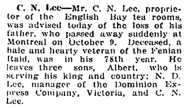 Vancouver Daily World, October 10, 1918, page 9, column 5.