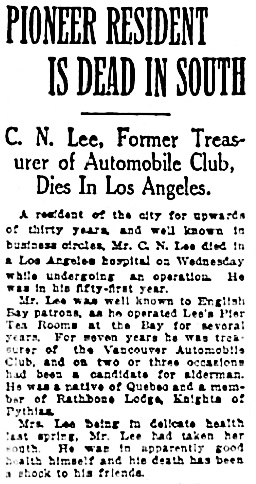 Vancouver Province, December 27, 1924, page 30, column 5.