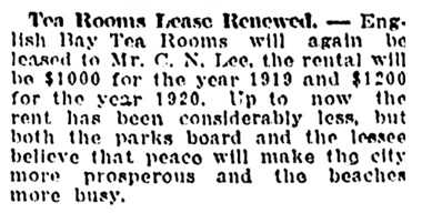 Vancouver Daily World, November 28, 1918, page 9, column 3.