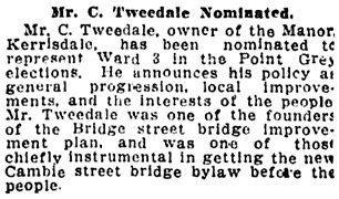 Vancouver Province, January 3, 1910, page 20, column 7.
