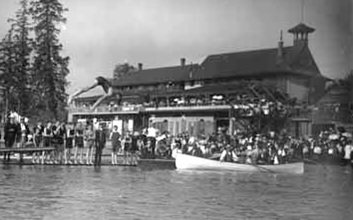 English Bay bathhouses, early 1900s; detail from Diving at English Bay; Vancouver Public Library; VPL Accession Number 5465; https://www3.vpl.ca/spePhotos/LeonardFrankCollection/02DisplayJPGs/1195/5465.jpg.