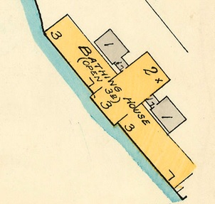 English Bay Bathing House; detail from Goad's Atlas of Vancouver, volume 1; Plate 63; Denman Street to Comox Street to Stanley Park boundary to English Bay]; Vancouver City Archives, 1972-582.38; https://searcharchives.vancouver.ca/plate-63-denman-street-to-comox-street-to-stanley-park-boundary-to-english-bay.
