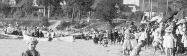 English Bay Beach, east of Gilford Street, about 1910; detail from A crowd on English Bay Beach; Vancouver City Archives, CVA 371-901; https://searcharchives.vancouver.ca/crowd-on-english-bay-beach.