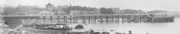 English Bay Pier, detail from English Bay Beach, English Bay Pier and Beach Avenue, about 1912; Vancouver City Archives, CVA 71-17; https://searcharchives.vancouver.ca/english-bay-beach-english-bay-pier-and-beach-avenue.