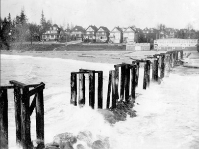 English Bay Pier pilings and view of Beach Avenue, about 1908; Vancouver City Archives, Be P102; https://searcharchives.vancouver.ca/english-bay-pier-pilings-and-view-of-beach-avenue.