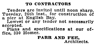 Vancouver Daily World, March 15, 1907, page 14, column 5.