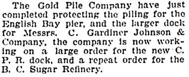 Vancouver Province, November 13, 1907, page 20, column 3.