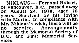 Vancouver Province, August 30, 1978, page 37, column 3.