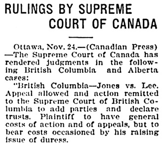 Victoria Daily Times, November 24, 1920, page 2, column 6.