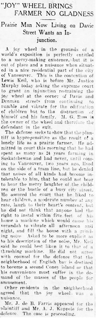 Vancouver Daily World, February 11, 1910, page 1, column 4.