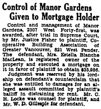 Vancouver Province, February 25, 1932, page 22, column 3.