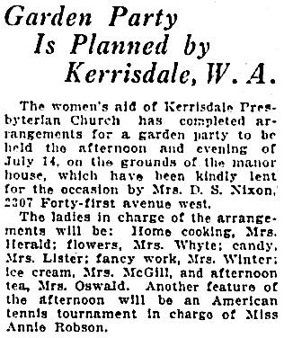 Vancouver Province, July 14, 1927, page 12, column 5.