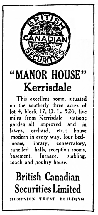 """Vancouver Daily World, June 6, 1911, page 25, column 7 [later advertisements changed the distance to Kerrisdale station from """"five miles"""" to """"five minutes""""]."""