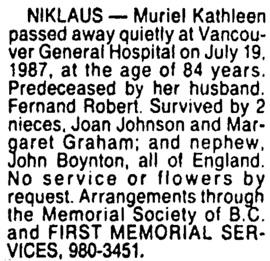 Vancouver Sun, July 22, 1987, page D1, column 7.