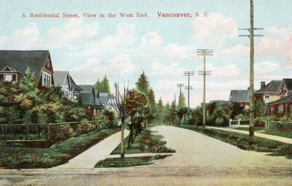 Probably 1800 block of Barclay Street, looking west from Denman Street; https://www.flickr.com/photos/45379817@N08/8003767675/in/album-72157625226575294/. Note two similar houses on left: they appear to be 1856 Barclay Street and 1860 Barclay Street.