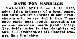 San Francisco Chronicle, April 6, 1917, page 10, column 6.