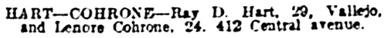 San Francisco Examiner, April 17, 1917, page 4, column 5 [marriage licenses].