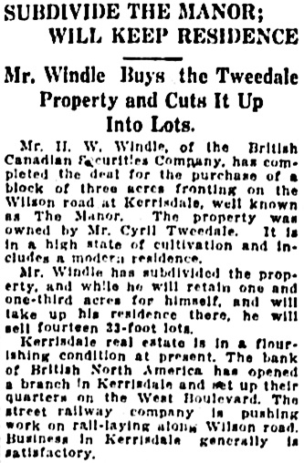 Vancouver Daily World, November 23, 1911, page 23, column 2.