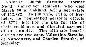 Vancouver Province, July 31, 1923, page 5, column 1.