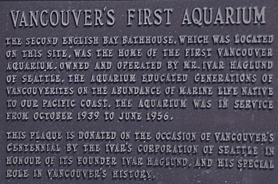 Vancouver's First Aquarium plaque, 1986 or 1987; Vancouver City Archives, CVA 775-175; https://searcharchives.vancouver.ca/vancouvers-first-aquarium-plaque.
