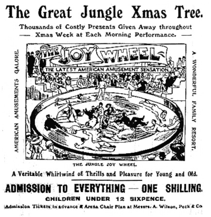 Visual advertisement with new Joy Wheel - Yorkshire Telegraph and Star, 23 December 1910.