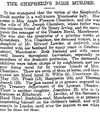 Manchester Courier and Lancashire General Advertiser, January 23, 1896, Volume LXXII, Issue Number 12232, page 8, column 6.