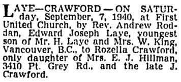 "Vancouver Province, September 21, 1940, page 25, column 1. [Note: Edward's surname was normally spelled ""Lay"" without an ""e"".]"