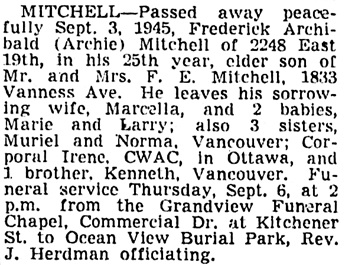 Vancouver Sun, September 4, 1945, page 15, column 3.